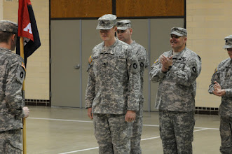 Photo: Sgt. William Gustafson was promoted to the rank of staff sgt. May 21 at the Cedar Street Armory.