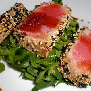 Sesame Crusted Tuna Steak on Arugula.