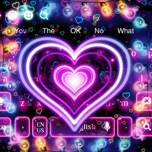 3D Neon Hearts Keyboard