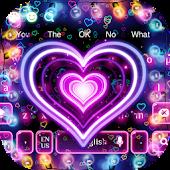 Tải 3D Neon Hearts Keyboard miễn phí