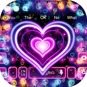 3D Neon Hearts Keyboard for PC