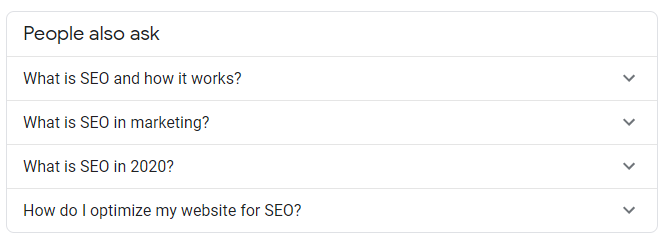 Google quick answers people who ask section