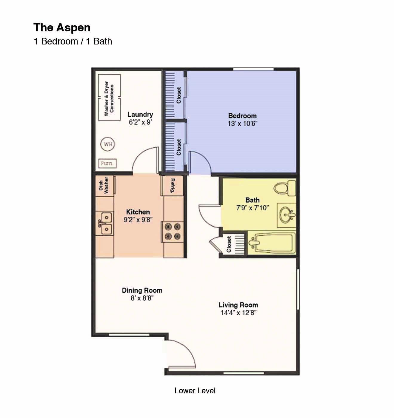 The Aspen Floorplan (1 Bed, 1 Bath)