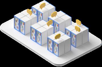 Conjuntos de servidores montados em racks, alguns com balões de diálogo acima deles