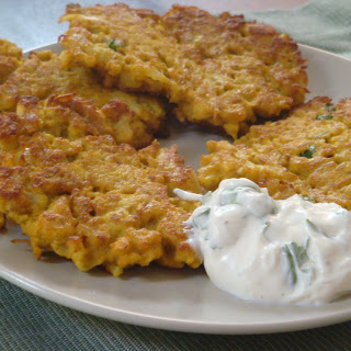 Cauliflower Spicy Fritters with Lime yoghurt.