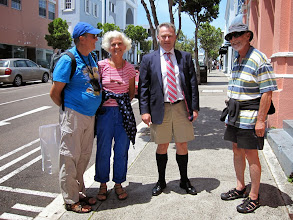 Photo: Gentleman in typical dress did not mind having his picture taken. Bermuda shorts, of course!