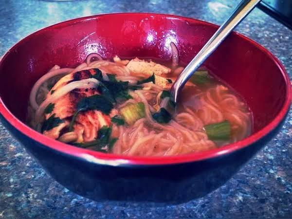 Salmon Noodle Bowl With Ginger Garlic Broth