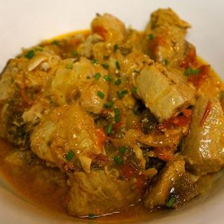 Tuna Chunks with Spicy Sauce.