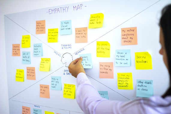 UX researcher: Empathy map with sticky notes