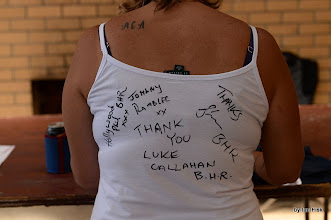 Photo: signatures of Blackhill Ramblers on gal's T-Shirt