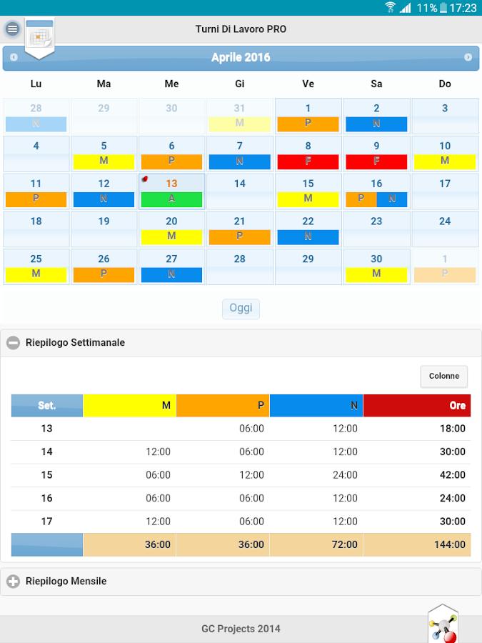 Turni di lavoro pro app android su google play for Costruzione di software per piani di lavoro