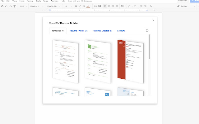 VisualCV Resume Builder Google Docs add on