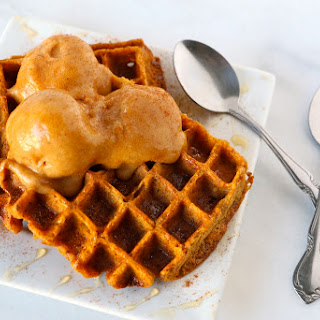 "Vegan Pumpkin Waffles with Pumpkin ""Ice Cream"""
