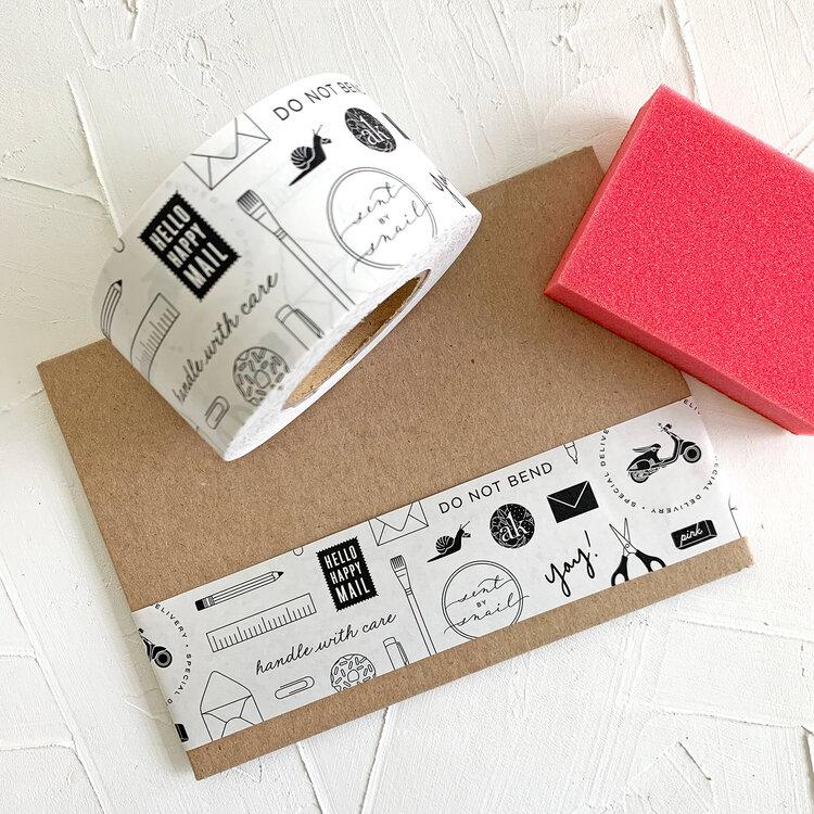 Custom tape on an envelope