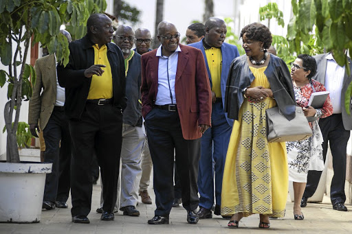 IN FRIENDLIER TIMES Cyril Ramaphosa, Gwede Mantashe, Jacob Zuma, Zweli Mkhize, Baleka Mbete and Jessie Duarte make their way into the ANC NEC meeting at the Saint George's Hotel in Irene, Pretoria, in JanuaryPicture: Ihsaan Haffejee