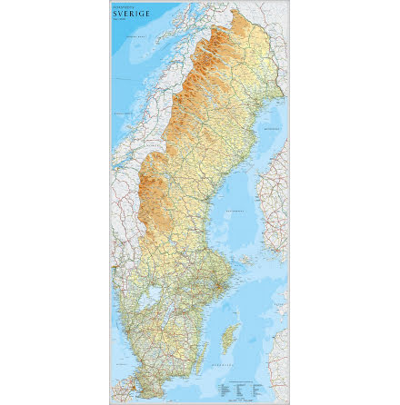 Sverigekarta 1:9milj 79x176cm