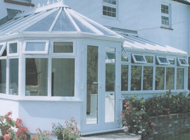 Glass P Shape Conservatory with Patio Door
