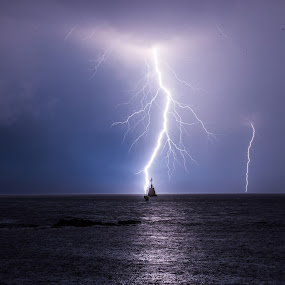 Superb shot by Matic Cankar - Landscapes Weather ( water, thunder, clouds, europe, chasing, no person, sea, storm, landscape, lightning, sky, blue, autumn, night,  )