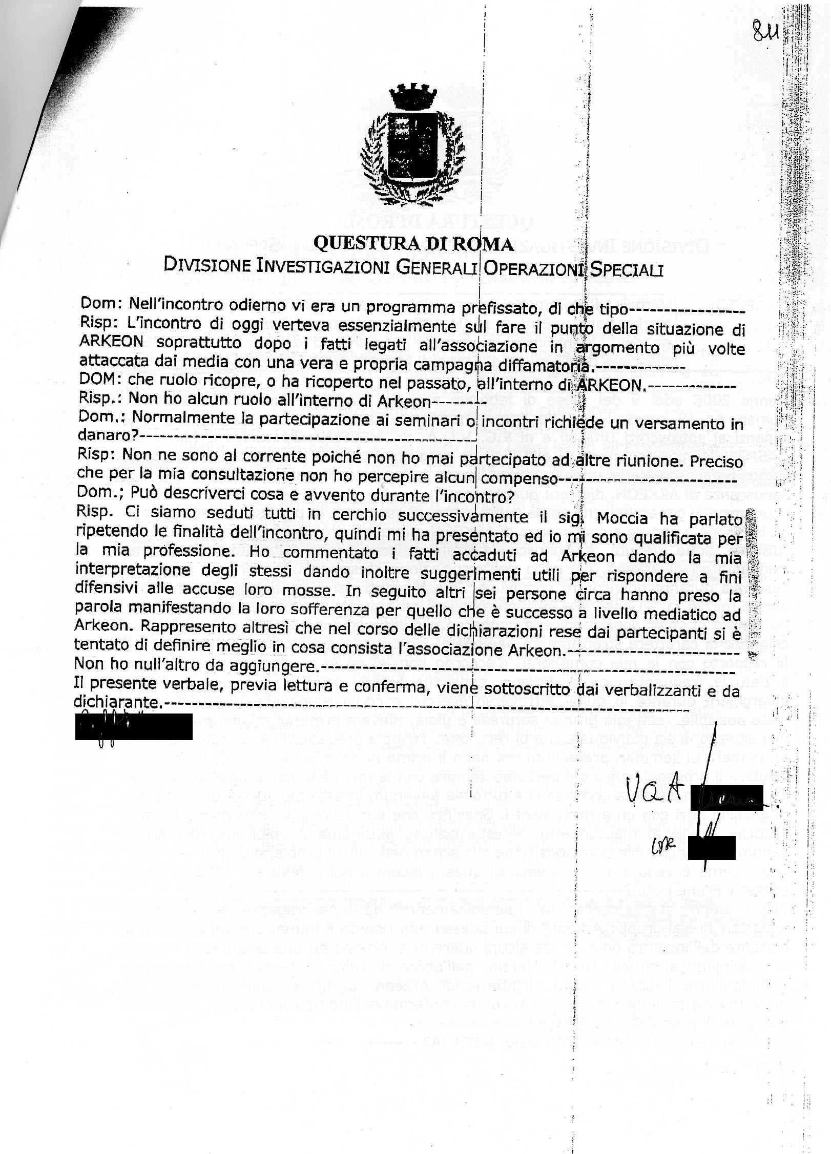 Photo: 9 febbraio 2008 - Dichiarazione rilasciata alla Digos di Roma, p.2