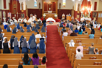 Photo: view from the choir loft during the litany of the saints
