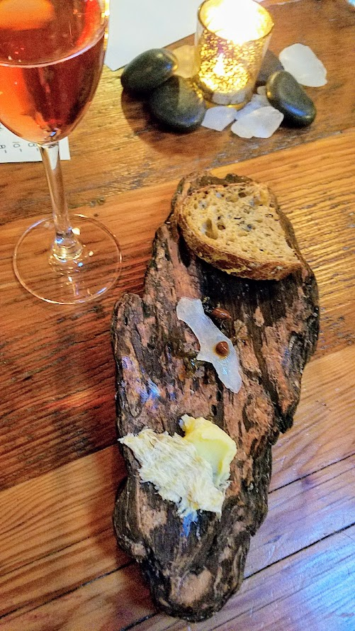 Fimbul PDX, an Icelandic Pop up Harðfiskur (dried fish), Cod cheek, black garlic, dulse Paired with Johan Vineyards, Petillant Naturel, Rosé of Pinot Noir, 2015, Willamette Valley Oregon