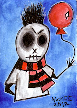 Photo: Balloon Boy. 04.18.2012. 2.5 inches x 3.5 inches. Watercolor and ink on 110 lb. acid-free paper. Signed on the front; title, signature, and date on the reverse. Sealed with a matte finish. Comes in a clear rigid plastic top-loader. ©Marisol McKee