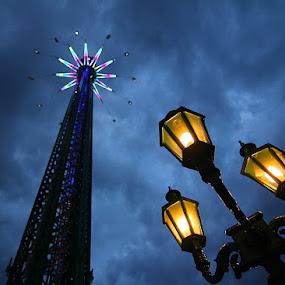 Night by Nicu Buculei - City,  Street & Park  Amusement Parks ( clouds, lights, sky, park, night, landmark, travel, , fairground, funfair )