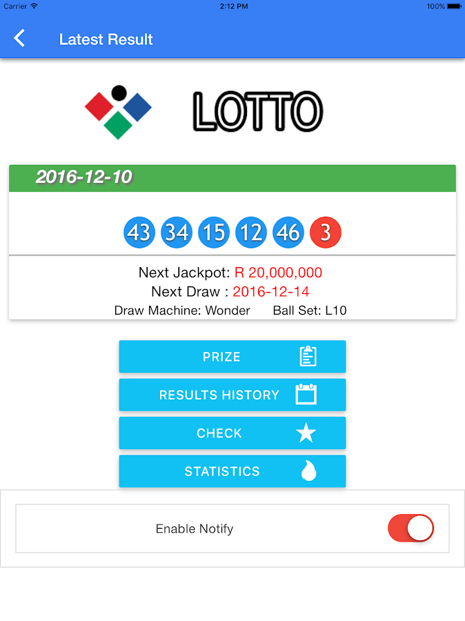 Lotto lottery results history