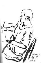 Photo: 寫字枱2011.08.09自來水毛筆 大官來時寫寫字,大官走後鬼畫符