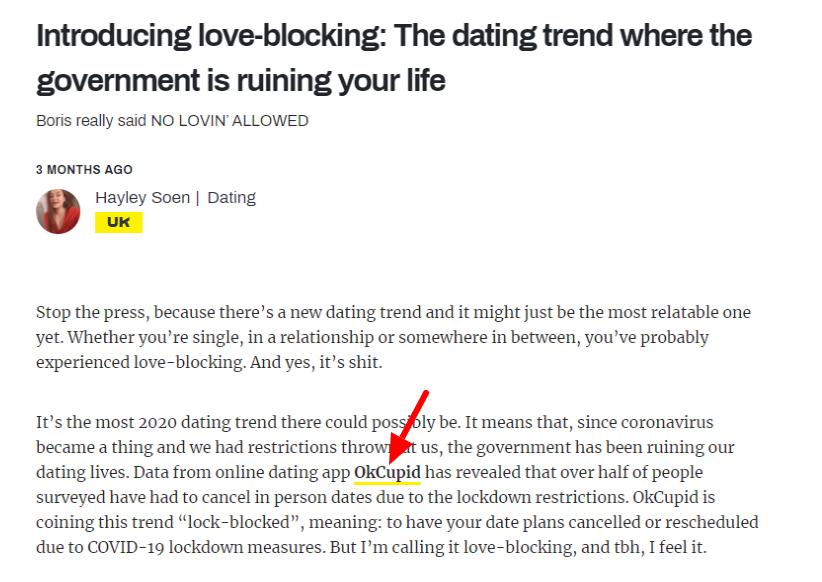 PR storytelling example from OkCupid