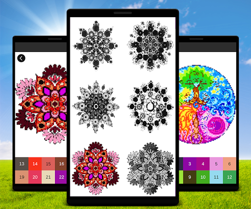 mandala color by number mandala pixel art mod apk unlimited android. Black Bedroom Furniture Sets. Home Design Ideas
