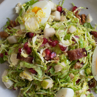 Crunchy Shaved Brussels Sprouts Salad with Pear and Pomegranate