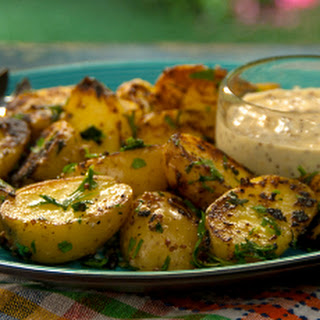 Mustard Aioli Grilled Potatoes with Fine Herbs.