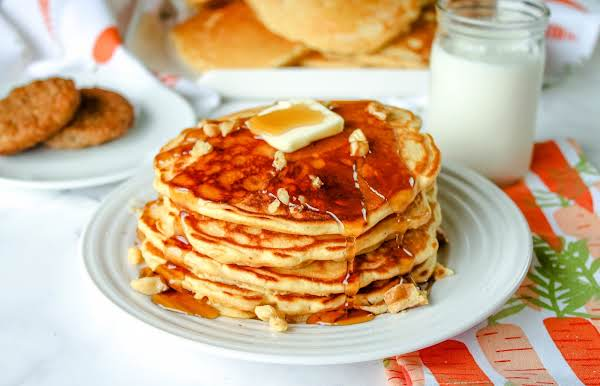 Carrot Cake Pancakes With Syrup And Butter.