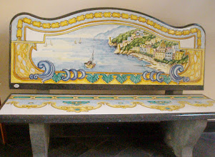 Photo: A bench made of tufa (volcanic rock) with tiled seat and back in traditional Amalfi style.