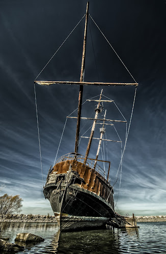 Ghost Ship by Sarah Hauck - Transportation Boats ( water, shore, clouds, mast, old, shipwreck, ship, hamilton, lake, ontario, rusty, abandoned )