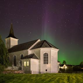 divine light by Rune Askeland - City,  Street & Park  Night ( church, tree, aurora, norge, nordlys, alversund, norway )
