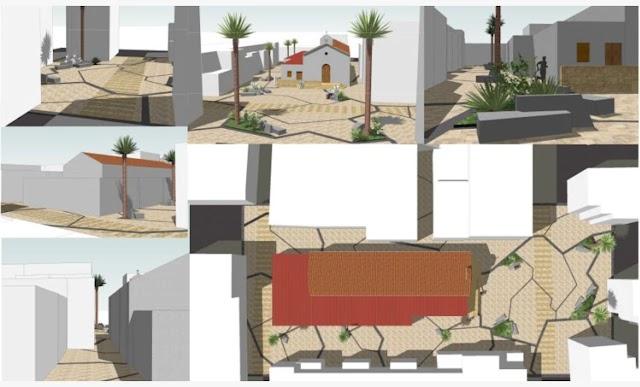Diseño de la zona peatonal junto a la iglesia de El Alquián