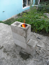 Photo: Testing: Thermette removed showing flames through chimney