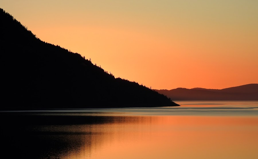 Saltspring Island at dawn by Campbell McCubbin - Landscapes Sunsets & Sunrises ( water, reflection, sunrise, saltspring island, island,  )