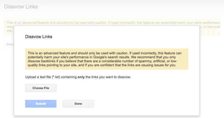 Google đã cảnh báo việc này trên trang Google Disavow Tool của họ
