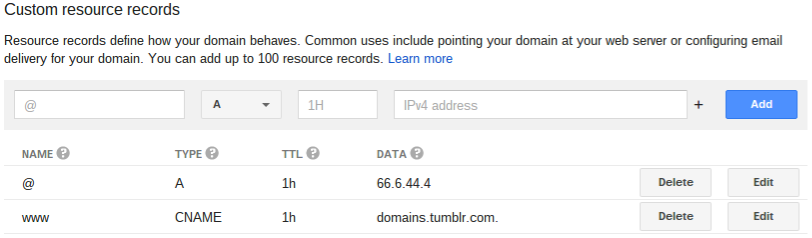 Map your domain to Tumblr  Google Domains Help