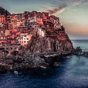 Cinque Terre by Maths Karlsson - Landscapes Travel ( cinque terre, waterscape, colors, sunset, longexposure, italy )