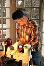 Photo: David Fry demonstrates a small bowl.