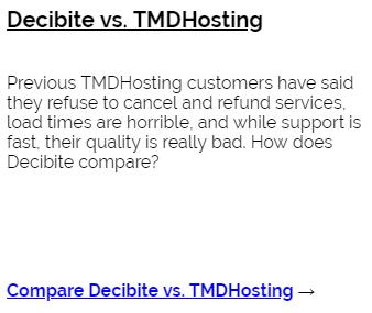 Decibite vs TMDHosting