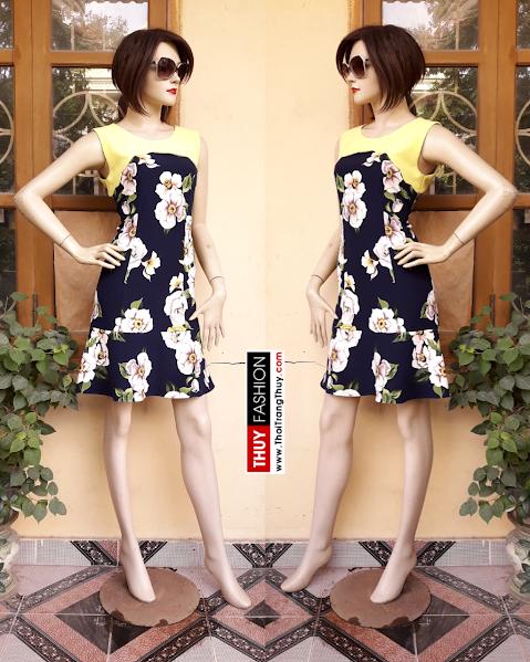 Váy xoè loa kèn hoạ tiết hoa V314 thời trang thuỷ