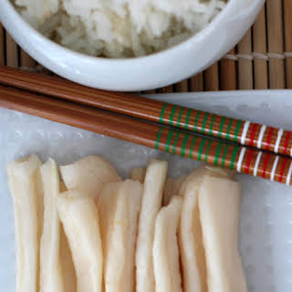 Takuan or Japanese Pickled Daikon Radish.