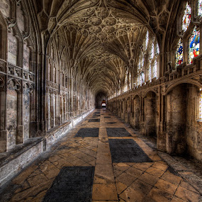 The cloister of Gloucester Cathedral by Roland Shanidze - Buildings & Architecture Places of Worship ( england, uk, patterns, hdr, gloucester, roland shainidze, perspective, anglican church, cathedral, symmetry )
