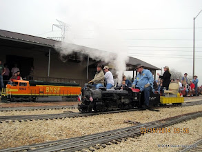 Photo: Bnsf 9944 with engineer Doug Blodgett and fireman while the steam loco with engineer Pete Greene has no fireman.   2014-0315 DH3