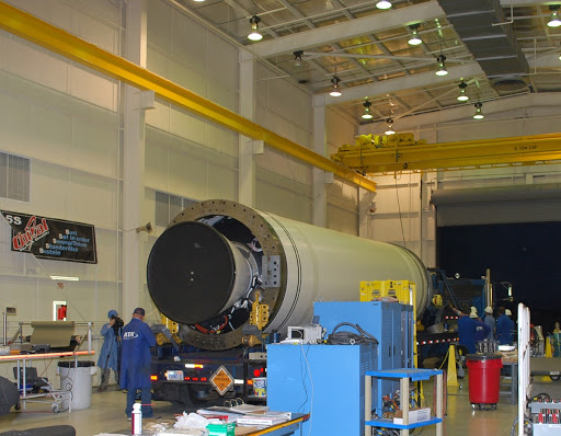 The Taurus XL Stage 0 motor has been moved into Orbital Sciences' Hangar 1555 at Vandenberg Air Force Base in California.